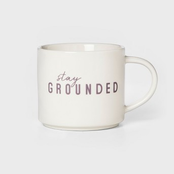 16oz Porcelain Stay Grounded Mug White/Purple - Room Essentials™