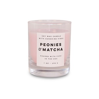 7oz Clear Glass Jar Candle Peonies & Matcha - Vineyard Hill Naturals By Paddywax