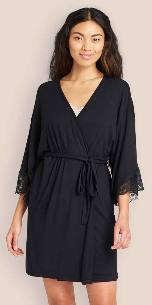 Women's Beautifully Soft Lace Trim Robe - Stars Above™ Black