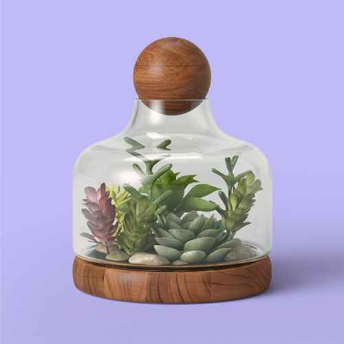 Recycled Glass/Wood Terrarium Blue - Smith & Hawken™