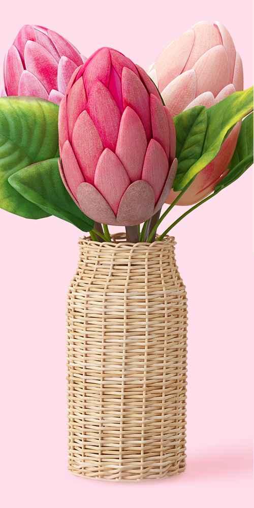 "14"" x 8"" Artificial Protea Arrangement in Rattan Vase Pink/Green - Opalhouse™"