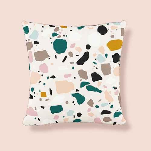 Terrazzo Outdoor Throw Pillow Emerald/Ochre - Cloth & Company