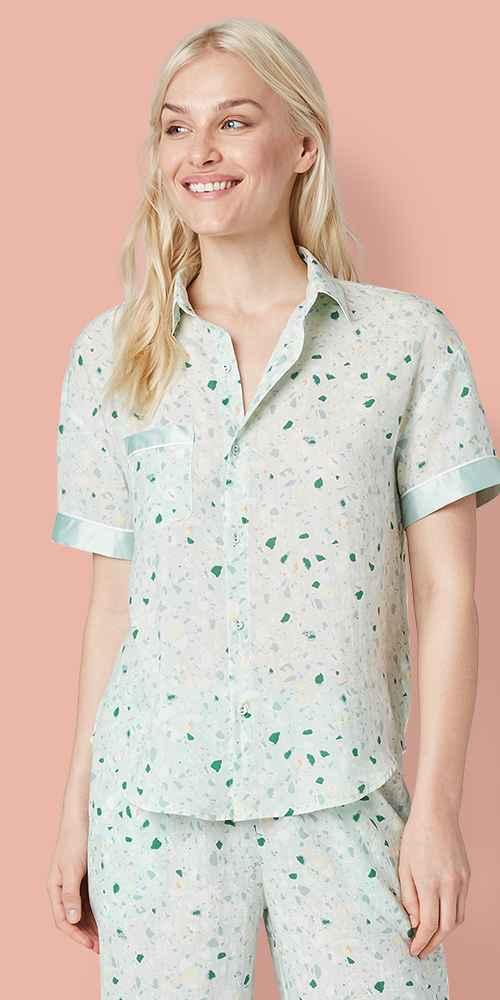 Women's Terrazzo Print Simply Cool Short Sleeve Button-Up Shirt - Stars Above™ Bluestone