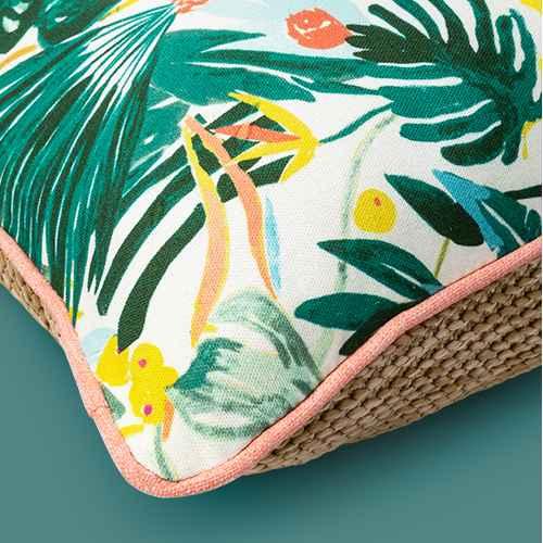 Opal Tropical Natural Woven Outdoor Throw Pillow Green/White - Opalhouse™