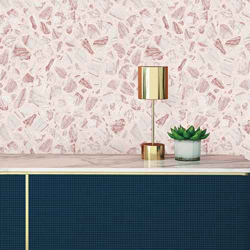 Tempaper Speckled Terrazzo Rose Self Adhesive Removable Wallpaper Pink