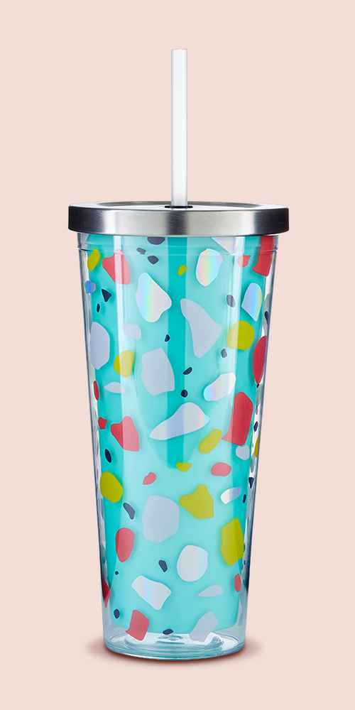Parker Lane 22oz Double Wall Straw Tumbler Scatter Pattern Turquoise