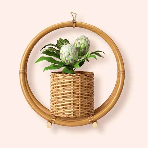 "14.7"" x 14.2"" Rattan Hanging Planter Holder Natural - Opalhouse™"