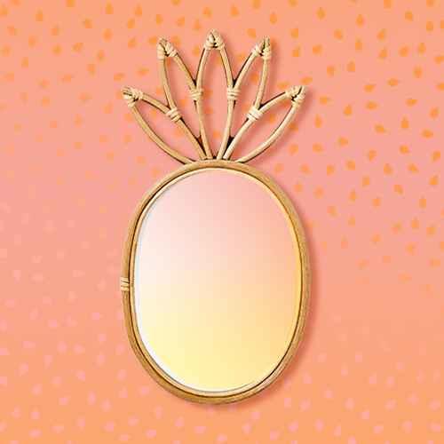 "19""x9"" Pineapple Rattan Mirror - Pillowfort™"
