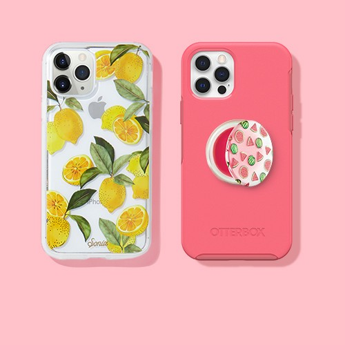 Sonix Apple iPhone Clear Coat Case - Lemon Zest, PopSockets PopGrip Lips Cell Phone Grip & Stand - Strawberry Feels, OtterBox Apple iPhone 12/12 Pro Symmetry+ with MagSafe – Tea Petal