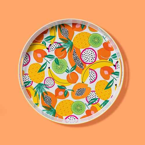 "15"" Melamine Fruit Print Round Serving Tray - Sun Squad™"