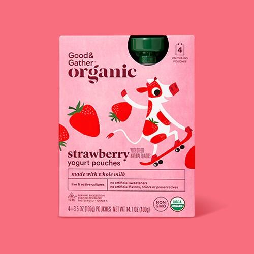 Organic Strawberry Kids' Yogurt Pouches - 4pk/3.5oz - Good & Gather™