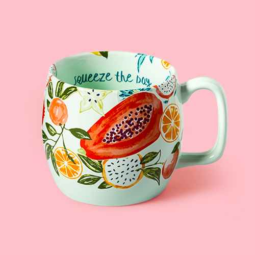17oz Stoneware Squeeze The Day Kira Mug Green - Opalhouse™