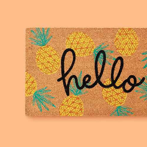 "1'6""x2'6"" 'Hello' Pineapple Doormat Natural - Sun Squad™"