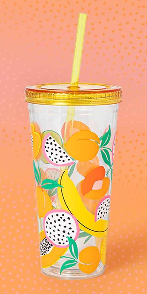 23oz Plastic Fruit Tumbler with Straw - Sun Squad™