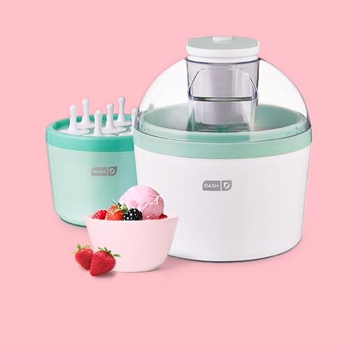 Dash Everyday Ice Cream Maker, Breyers All Natural Strawberry Ice Cream - 48oz, Organic Strawberries - 1lb, Triple Berry Frozen Fruit Blend - 48oz - Good & Gather™, 7oz 4pk Plastic Mini Bowls Pink - Room Essentials™