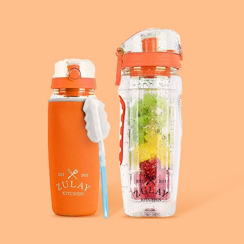 Zulay Kitchen Portable Water Bottle with Fruit Infuser for Healthy & Delicious Hydration  34oz