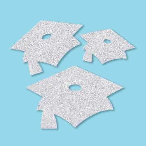 36ct Mortarboard Graduation Cutouts Silver