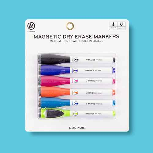 U-Brands 6ct Magnetic Dry Erase Markers with Eraser Cap