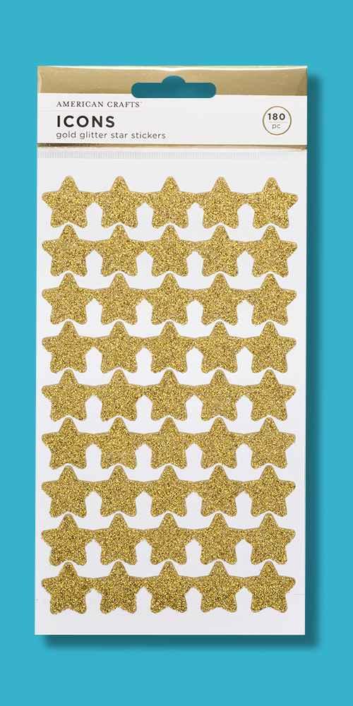 180ct Glitter Star Stickers Gold - American Crafts