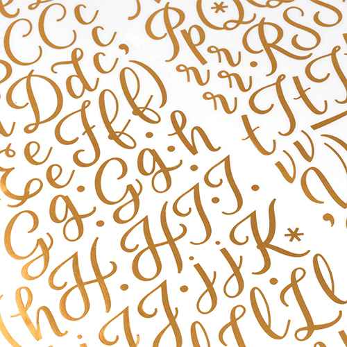 160pc Stickers Alpha & Number Gold - American Crafts