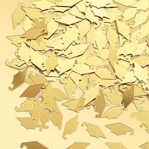 Graduation Mortarboard Gold Confetti