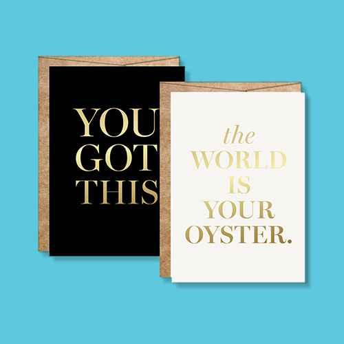 "2ct ""You Got This"" Congrats Foil Art Cards Gold"