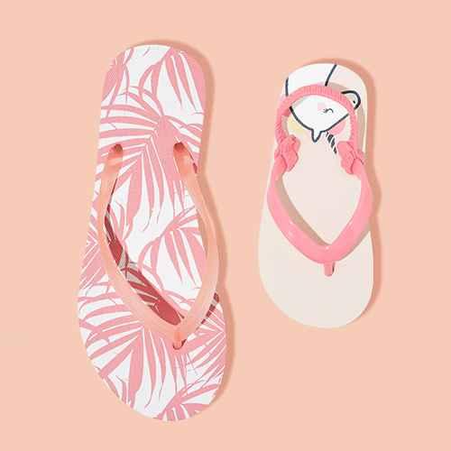 Women's Brynn Flip Flop Sandals - Shade & Shore™ Pink Palm 6, Toddler Adrian Flip Flop Sandals - Cat & Jack™ Pink M
