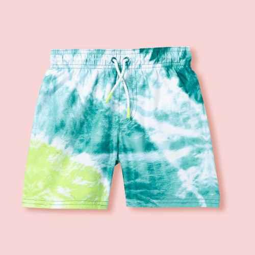 Toddler Boys' Tie-Dye Swim Trunks - Cat & Jack™ Lime Green/Blue 3T