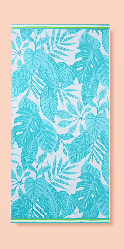 XL Palm Leaves Beach Towel Blue - Sun Squad™