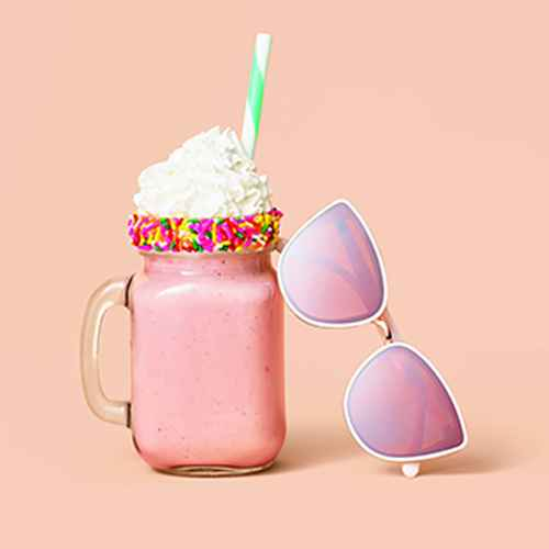 Strawberry Ice Cream - 1.5qt - Market Pantry™, Heavy Whipping Cream - 1pt - Good & Gather™, Wilton Spring Pearlized Jimmies, 4.23 oz., Betty Crocker Rich and Creamy Vanilla Frosting - 16oz, Women's Cateye Metal Plastic Combo Sunglasses - A New Day™ White, 16oz 4pk Old Fashioned Drinking Jars - Cathy's Concepts, 24ct Fresh Lime and White Striped Paper Straws