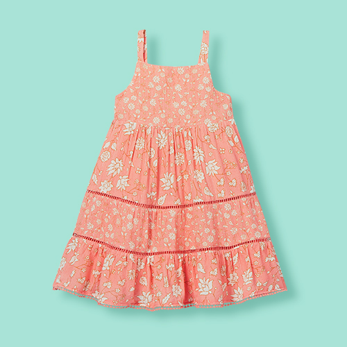 Toddler Girls' Floral Tiered Tank Dress - Cat & Jack™ Coral 3T