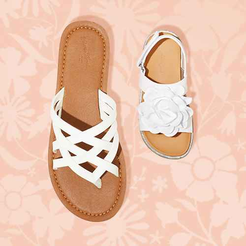 Women's Josephine Multi Strap Sandals - Universal Thread™ White 6, Toddler Girls' Violetta Buckle Footbed Sandals - Cat & Jack™ White 9