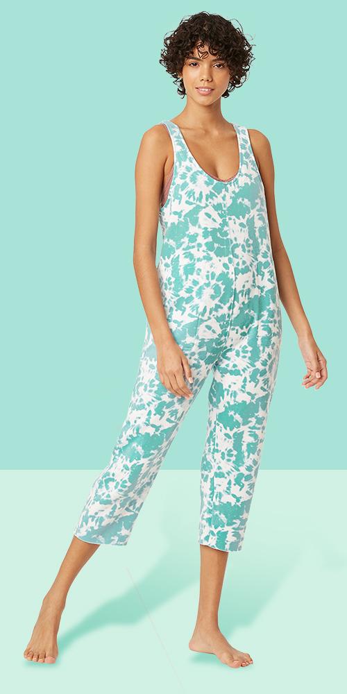 Women's Tie-Dye Fleece Lounge Playsuit - Colsie™ Aqua S