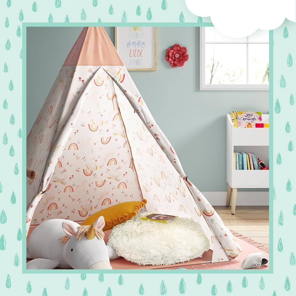 "Unicorn Tent - Pillowfort™, XL Unicorn Plush - Pillowfort™, 27""x45"" Checkered Accent Rug Pink - Pillowfort™, Oblong Pom-Pom Throw Pillow Yellow - Pillowfort™, Faux Fur Floor Pillow Cream - Pillowfort™, Flower Wall Decor Pink - Pillowfort™, 24"" Kids' Catch-All Multi-Cubby Toy Organizer with 2 Turquoise Bins - RiverRidge Home, 5'x7' Geometric Shag Area Rug Pink/Yellow - Pillowfort™, Everyone Belongs Wall Art - Pillowfort™"