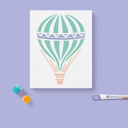 "Stencil Hot Air Balloon 8.5"" x 11"" - Stencil1, Inc., 10pc Artist Paintbrush Set - Mondo Llama™, 24ct Acrylic Paint Set Classic Colors - Mondo Llama™, 11""x14"" Stretched Canvas White - Mondo Llama™"