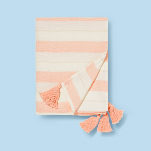 """50""""x60"""" Woven Striped with Tassel Throw Pink/White - Pillowfort™"""
