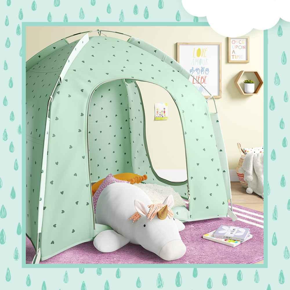 "Sensory Friendly Tent Mint - Pillowfort™, XL Unicorn Plush - Pillowfort™, Square Embroidered Dot Throw Pillow - Pillowfort™, Small Water Hyacinth and Coiled Rope Stripe Bin - Pillowfort™, Teddy Bear Plush Throw Cream - Pillowfort™, Once Upon A Time Wall Art - Pillowfort™, Natural Wood Hexagon Shelf Yellow - Pillowfort™, 4'x5'6"" Border Striped Rug Purple - Pillowfort™, Oblong Pom-Pom Throw Pillow Yellow - Pillowfort™, Natural Wood Hexagon Shelf Mint - Pillowfort™"