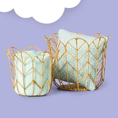 Full/Queen Plush Blanket Mint - Pillowfort™, Dotted Square Throw Pillow Mint - Pillowfort™, Tulip Shaped Woven Basket - Pillowfort™