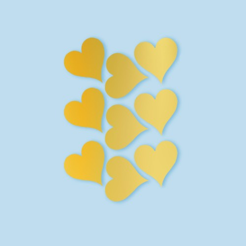 Heart Peel and Stick Wall Decal Gold - RoomMates