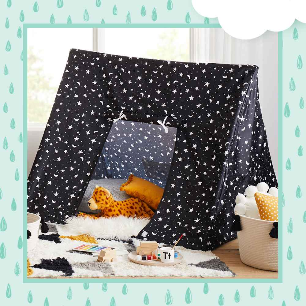 A Frame Black Stars Tent - Pillowfort™, Large Coiled Rope Basket with Tassels Natural/Black - Pillowfort™, Faux Fur Floor Pillow Cream - Pillowfort™, Round Plush Pillow with Pom-Poms Cream - Pillowfort™, Triangles Shag Rug - Pillowfort™, Oblong Pom-Pom Throw Pillow Yellow - Pillowfort™, Dotted Square Throw Pillow Yellow - Pillowfort™, Cheetah Throw Pillow - Pillowfort™, Monkey Throw Pillow - Pillowfort™, 35pc Watercolor Paint Set - Mondo Llama™
