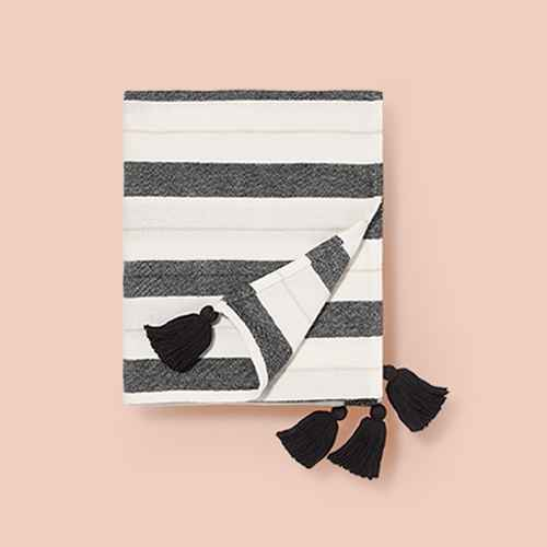 "50""x60"" Woven Striped with Tassel Throw Black/White - Pillowfort™"