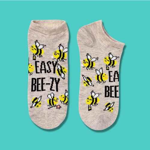 Women's 'Easy Beezy' Bee Low Cut Socks - Xhilaration™ Oatmeal Heather 4-10