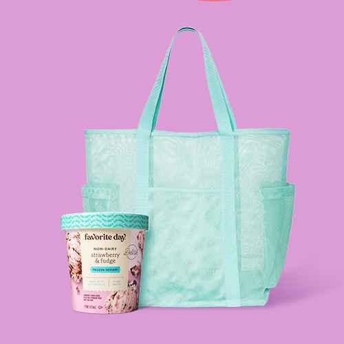 Strawberry & Fudge Frozen Dessert - 16oz - Favorite Day™, Mesh Tote Handbag - Shade & Shore™ Green