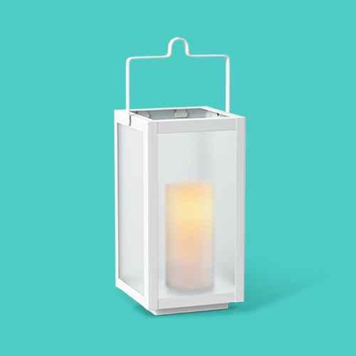 """10"""" Rectangular Pillar Outdoor Lantern Candle Holder White - Room Essentials™"""