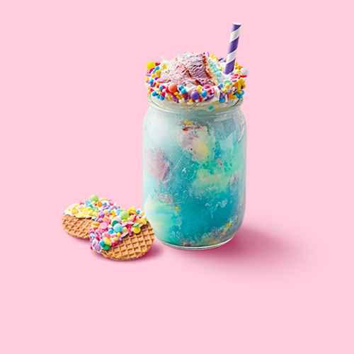 Mermaid Ice Cream - 48oz - Favorite Day™, Pillsbury Creamy Supreme Vanilla Frosting - 16oz, Reko Pizzelle Italian Waffle Cookies Vanilla - 4ct/7oz, Rainbow Sprinkles - 9.3oz - Favorite Day™, Wilton Rainbow Non Pariels - 3oz, Kool-Aid Jammers Blue Raspberry Juice Drinks - 10pk/6 fl oz Pouches, Club Soda - 33.8 fl oz Bottle - Market Pantry™, 24ct Amethyst Striped Paper Straws Purple, Ball 4ct 4oz Mini Storage Jar with Metal Lid
