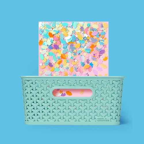 "Y-Weave Medium Decorative Storage Basket Jade Dust - Room Essentials™, 1.2oz Glitter Rainbows & Unicorns - Mondo Llama™, 8pk 8""x10"" Stretched Canvas White - Mondo Llama™"