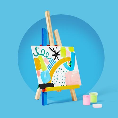 "Tabletop Easel - Mondo Llama™, 8pk 8""x10"" Stretched Canvas White - Mondo Llama™, 25pc Mixed Media Tools Set - Mondo Llama™, 24ct Acrylic Paint Set Classic Colors - Mondo Llama™"