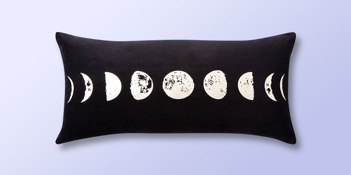 Phases of the Moon Velvet Lumbar Throw Pillow Black - Room Essentials™