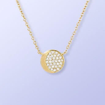 Sterling Silver Half Moon Pave Cubic Zirconia Necklace - Gold