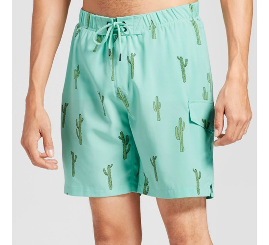 Men's Cactus Swim Trunks - No Retreat Green